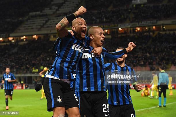 Joao Miranda of FC Internazionale Milano celebrates his goal with team mate Felipe Melo during the Serie A match between FC Internazionale Milano and...