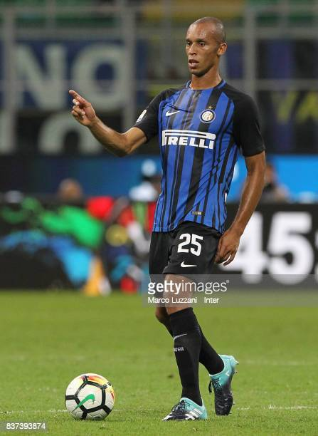 Joao Miranda of FC Internazionale Milano in action during the Serie A match between FC Internazionale and ACF Fiorentina at Stadio Giuseppe Meazza on...