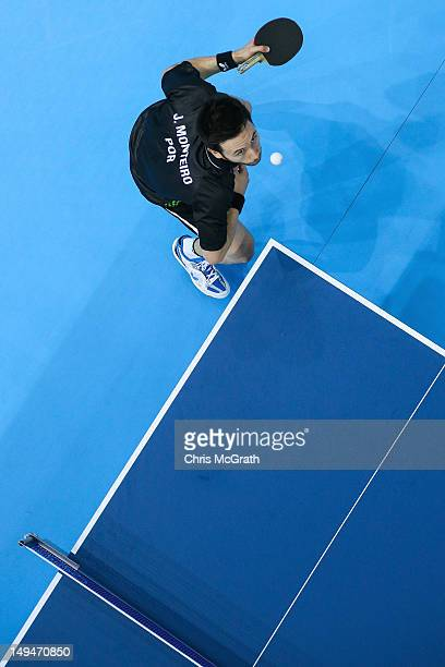 Joao Monteiro of Portugal serves in his Men's Singles second round match against William Henzell of Australia on Day 2 of the London 2012 Olympic...