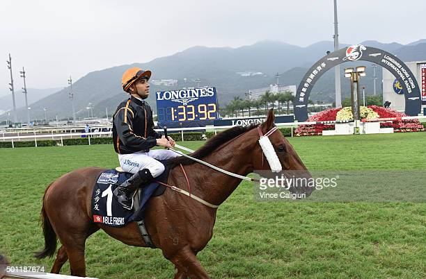 Joao Moreira riding Able Friend after finishing 3rd in Race 7 The Longines Hong Kong Mile during the Hong Kong International Races at Sha Tin...