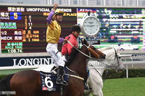 Joao Moreira riding Peniaphobia of Hong Kong reacts after winning Race 5 The Longines Hong Kong Sprint during the Hong Kong International Races at...