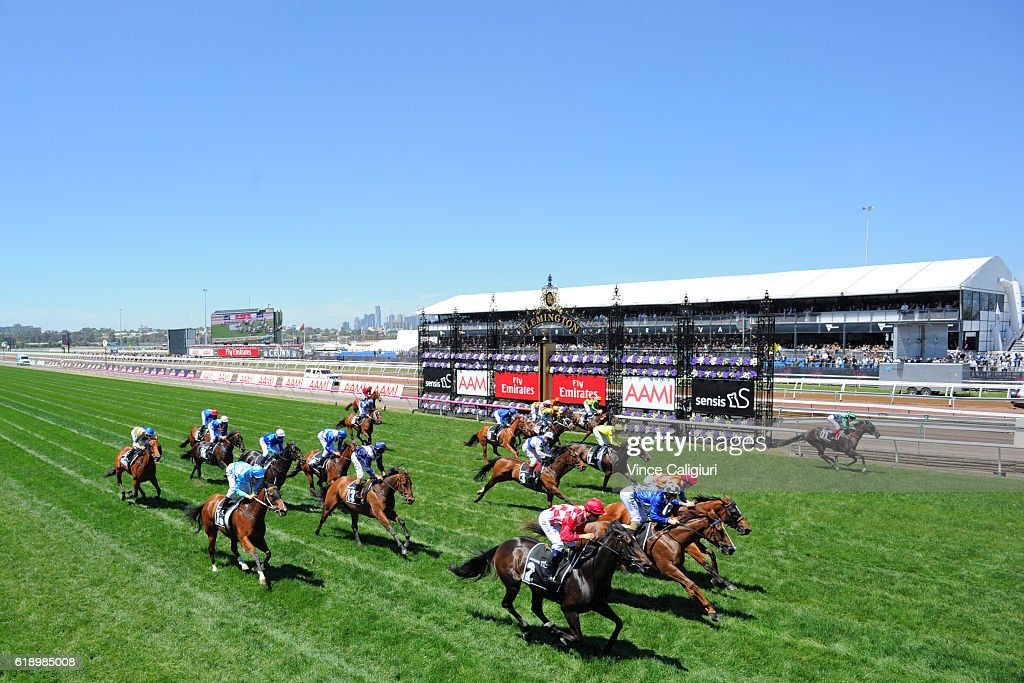 Joao Moreira riding Sheidel (2) wins Race 3, Sensis Stakes on Derby Day at Flemington Racecourse on October 29, 2016 in Melbourne, Australia.