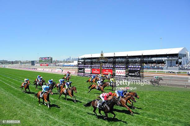 Joao Moreira riding Sheidel wins Race 3 Sensis Stakes on Derby Day at Flemington Racecourse on October 29 2016 in Melbourne Australia