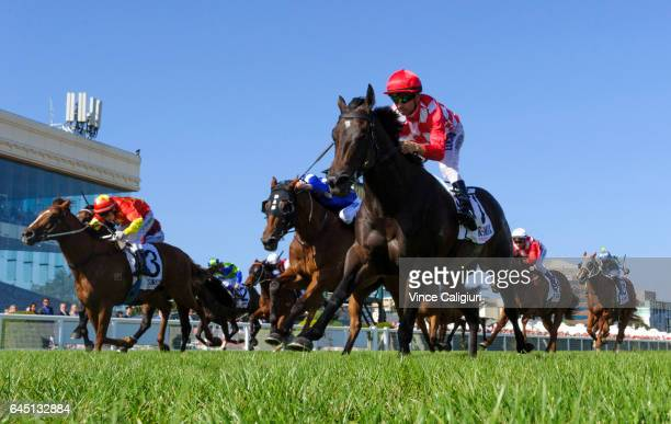 Joao Moreira riding Sheidel wins Race 8 Oakleigh Plate during Melbourne Racing at Caulfield Racecourse on February 25 2017 in Melbourne Australia