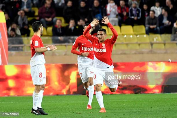 Joao MOUTINHO and Rony LOPES of Monaco during the Ligue 1 match between AS Monaco and Paris SaintGermain at Stade Louis II on November 26 2017 in...