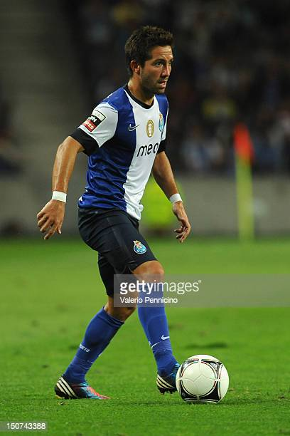 Joao Moutinho of FC Porto in action during the Liga Zon Sagres match between FC Porto and Vitoria Guimaraes at Estadio do Dragao on August 25 2012 in...