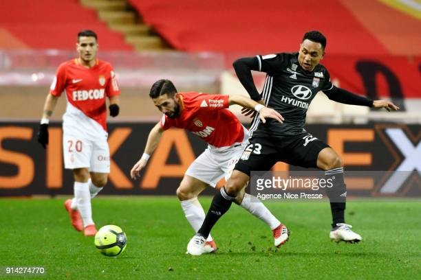 Joao Moutinho of Monaco and Kenny Tete of Lyon during the Ligue 1 match between AS Monaco and Lyon at Stade Louis II on February 4 2018 in Monaco