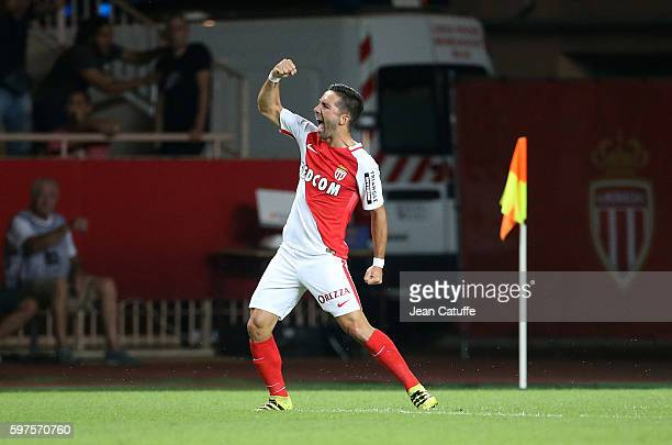 Joao Moutinho of Monaco celebrates his goal during the French Ligue 1 match between AS Monaco and Paris SaintGermain at Stade Louis II on August 28...