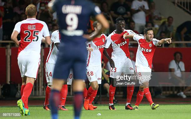 Joao Moutinho of Monaco celebrates his goal with teammates during the French Ligue 1 match between AS Monaco and Paris SaintGermain at Stade Louis II...