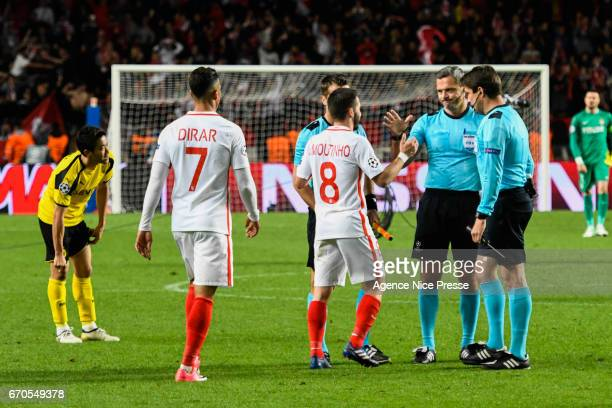 Joao Moutinho of Monaco handshakes Damir Skomina referee during the Uefa Champions League quarter final second leg match between As Monaco and...