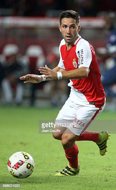 Joao Moutinho of Monaco in action during the French Ligue 1 match between AS Monaco and Paris SaintGermain at Stade Louis II on August 28 2016 in...