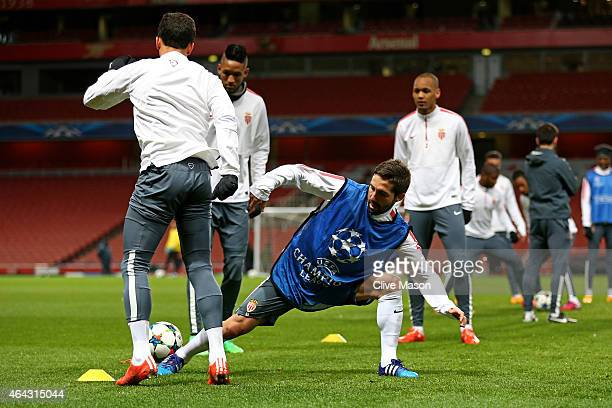 Joao Moutinho of Monaco makes a tackle during the AS Monaco press conference ahead of the UEFA Champions League round of 16 match against Arsenal at...