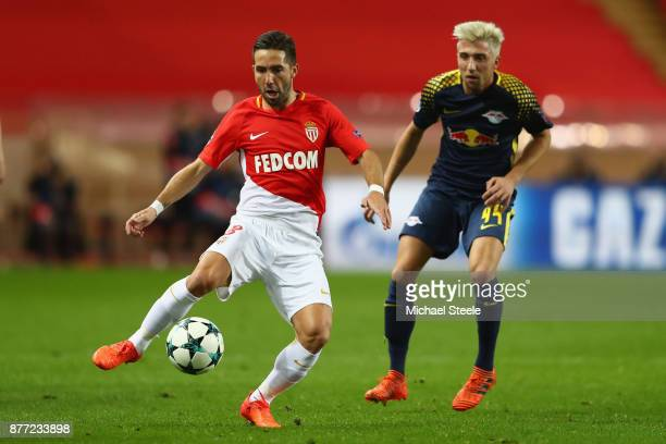 Joao Moutinho of Monaco watched by Kevin Kampl of RB Leipzig during the UEFA Champions League group G match between AS Monaco and RB Leipzig at Stade...