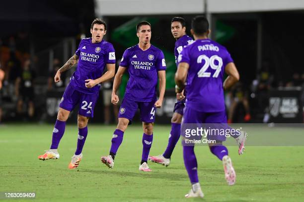 Joao Moutinho of Orlando City celebrates after scoring to tie 1-1- during a quarter final match of MLS Is Back Tournament between Orlando City and...