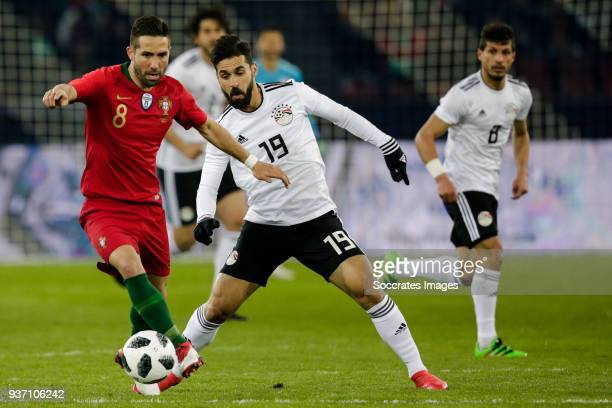 Joao Moutinho of Portugal Abdallah Said of Egypt during the International Friendly match between Egypt v Portugal at the Letzigrund Stadium on March...