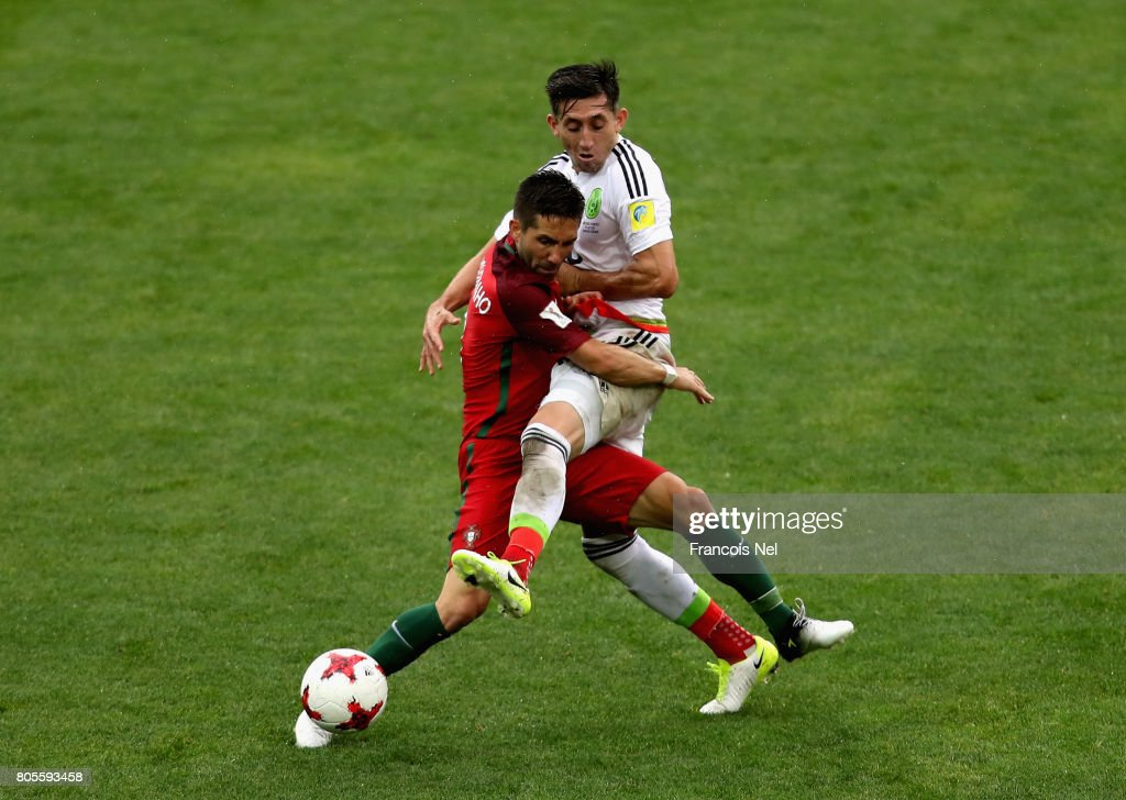 Joao Moutinho of Portugal and Hector Herrera of Mexico battle for possession during the FIFA Confederations Cup Russia 2017 Play-Off for Third Place between Portugal and Mexico at Spartak Stadium on July 2, 2017 in Moscow, Russia.