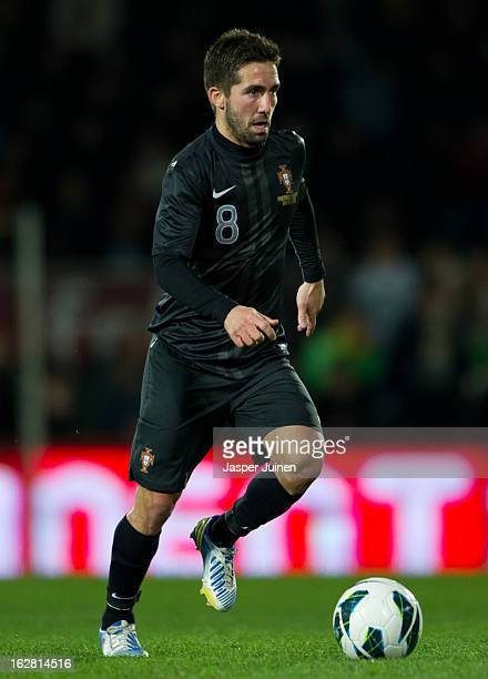 Joao Moutinho of Portugal controls the ball during the international friendly match between Portugal and Ecuador at the Estadio Dom Afonso Henriques...