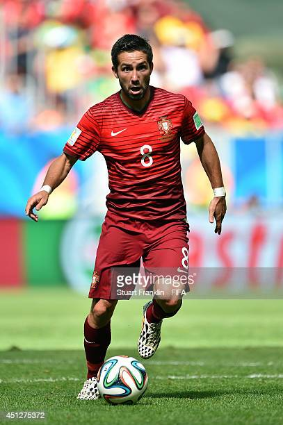 Joao Moutinho of Portugal in action during the 2014 FIFA World Cup Brazil Group G match between Portugal and Ghana at Estadio Nacional on June 26...
