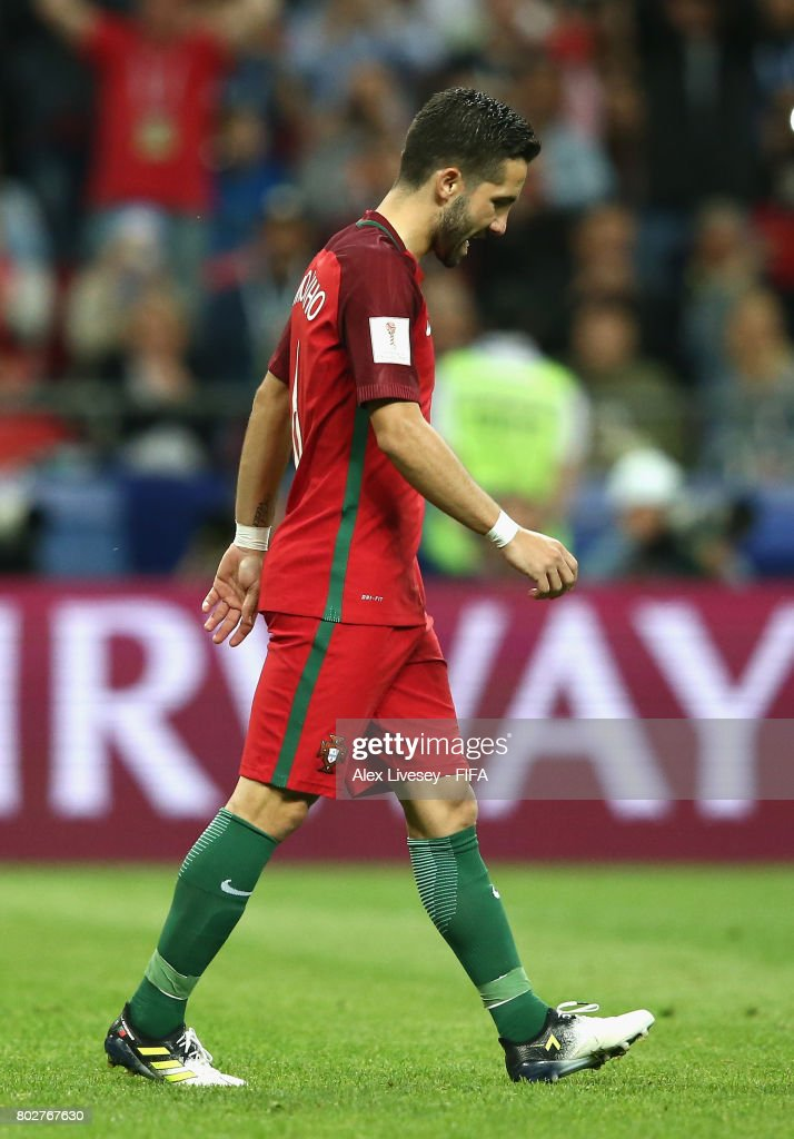 Joao Moutinho of Portugal reacts to missing his sides second penalty during the FIFA Confederations Cup Russia 2017 Semi-Final between Portugal and Chile at Kazan Arena on June 28, 2017 in Kazan, Russia.