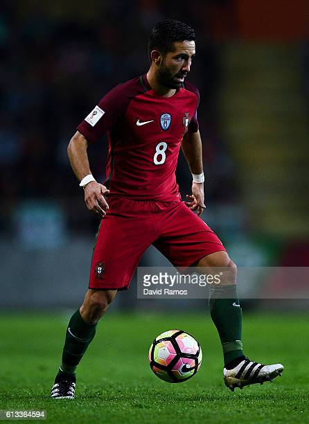 Joao Moutinho of Portugal runs with the ball during the FIFA 2018 World Cup Qualifier between Portugal and Andorra at Estadio Municipal de Aveiro on...