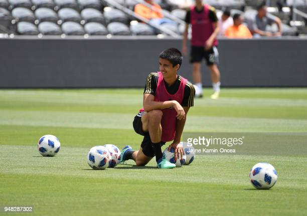 Joao Moutinho of the Los Angeles FC practices for the first time on the field at the Banc of California Stadium on April 18 2018 in Los Angeles...