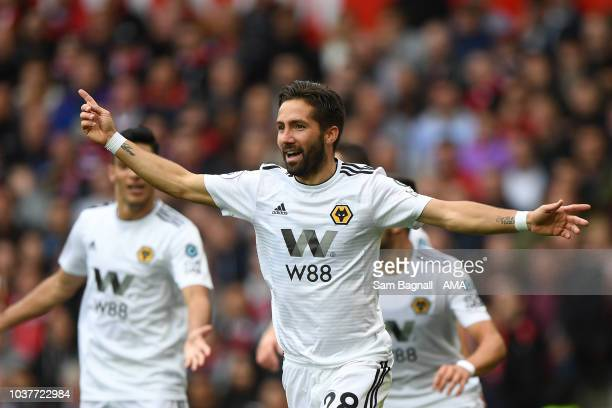 Joao Moutinho of Wolverhampton Wanderers celebrates after scoring a goal to make it 11 during the Premier League match between Manchester United and...