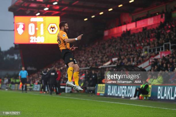 Joao Moutinho of Wolverhampton Wanderers celebrates after scoring a goal to make it 0-1 during the Premier League match between AFC Bournemouth and...
