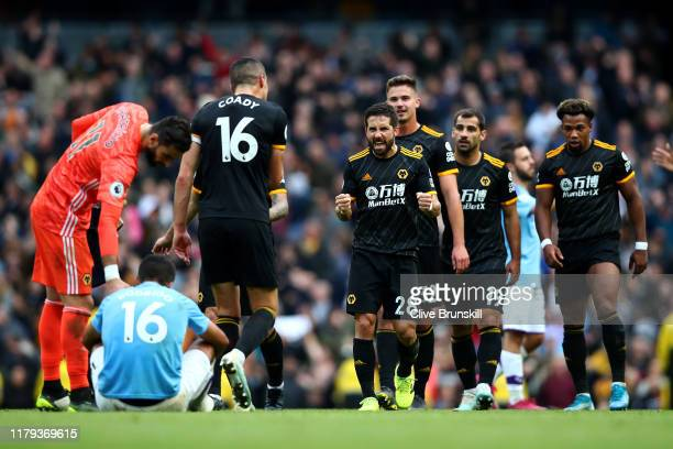 Joao Moutinho of Wolverhampton Wanderers celebrates after their teams victory in the Premier League match between Manchester City and Wolverhampton...