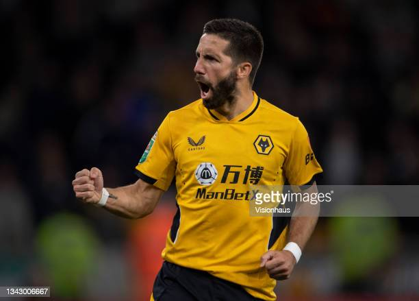Joao Moutinho of Wolverhampton Wanderers celebrates scoring his penalty during the shoot out of the Carabao Cup Third Round match between...