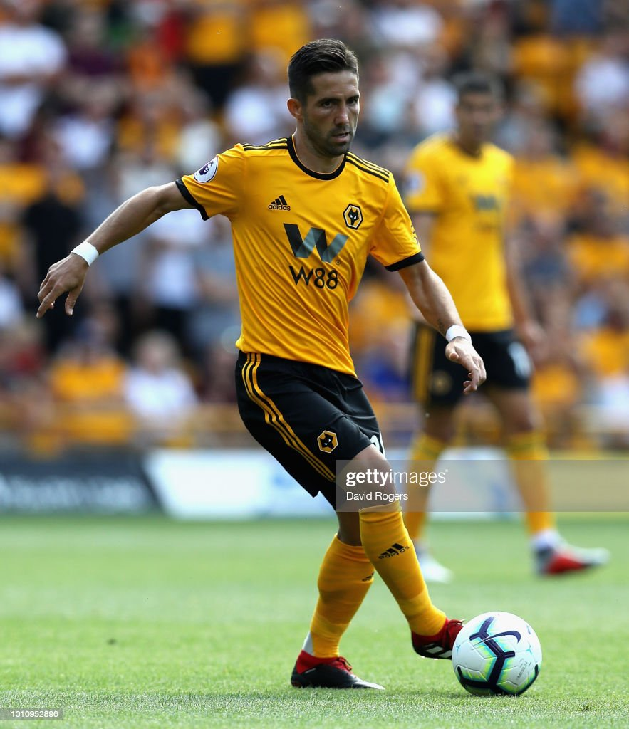 Joao Moutinho of Wolverhampton Wanderers controls the ball during the pre-season friendly match between Wolverhampton Wanderers and Villareal at Molineux on August 4, 2018 in Wolverhampton, England.