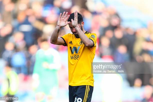Joao Moutinho of Wolverhampton Wanderers reacts at full time during the Premier League match between Burnley FC and Wolverhampton Wanderers at Turf...