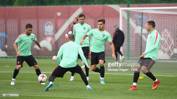 Joao Moutinho Pepe Andre Silva and Cristiano Ronaldo in action during the Portugal training session on June 27 2017 in Kazan Russia