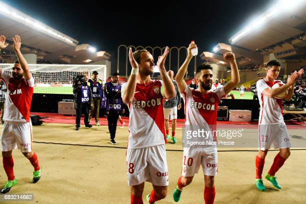 Joao Moutinho Valere Germain Bernardo Silva and Guido Carrillo of Monaco during the Ligue1 match between As Monaco and Lille OSC at Louis II Stadium...