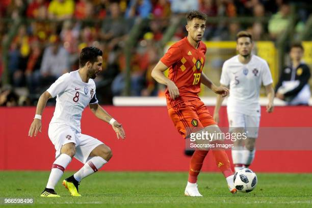 Joao Moutinho van Portugal Adnan Januzaj of Belgium during the International Friendly match between Belgium v Portugal at the Koning Boudewijnstadion...