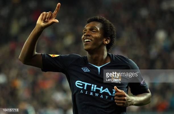 Joao of Manchester celebrates after scoring the second goal during the UEFA Europa League group G match between FC Red Bull Salzburg and Manchester...