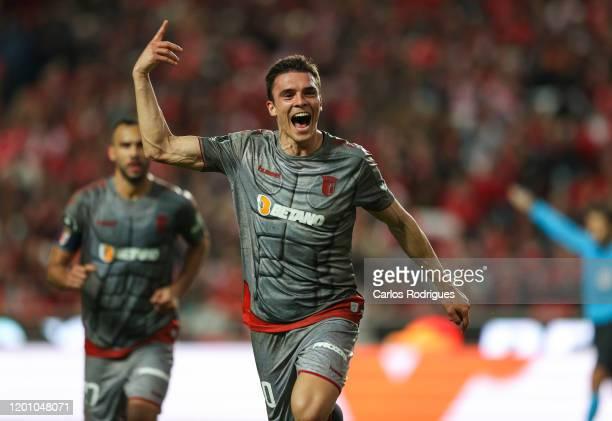 Joao Palhinha of SC Braga celebrates scoring SC Braga goal during the Liga Nos match berween SL Benfica and SC Braga at Estadio da Luz on February 15...