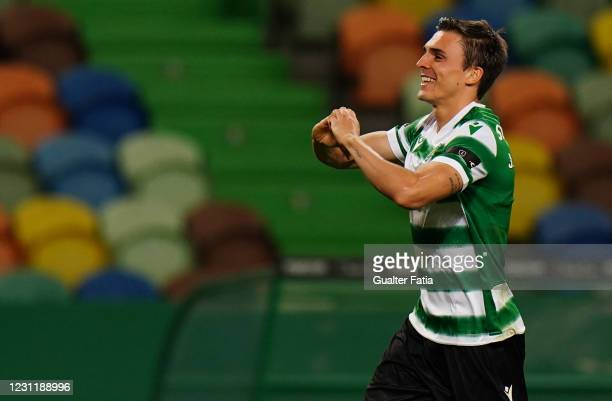 Joao Palhinha of Sporting CP celebrates after scoring a goal during the Liga NOS match between Sporting CP and FC Pacos de Ferreira at Estadio Jose...
