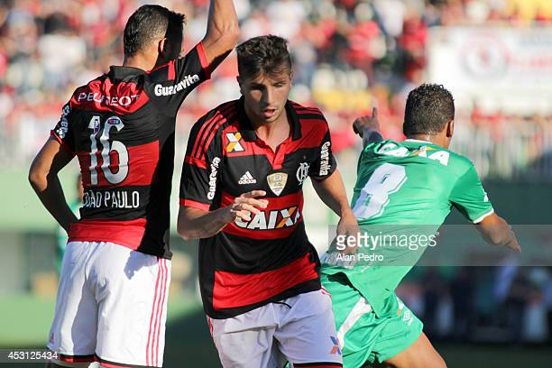Joao Paulo and Lucas Mugni of Flamengi during a match between Chapecoense and Flamengo for the Brazilian Series A 2014 at Arena Conda on August 3...