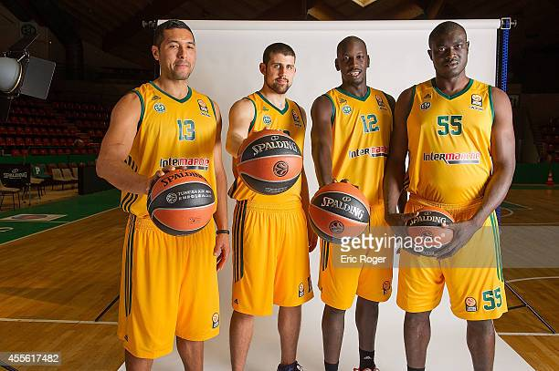 Joao Paulo Batista #13 of Limoges CSP Adrien Moerman #18 Ousmane Camara #12 and Frejus Zerbo #55 poses during the Limoges CSP 2014/2015 Turkish...