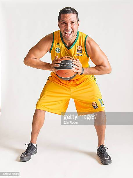 Joao Paulo Batista #13 of Limoges CSP poses during the Limoges CSP 2014/2015 Turkish Airlines Euroleague Basketball Media Day at Beaublanc on...