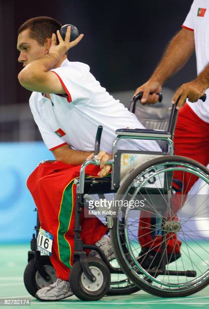 Joao Paulo Fernandes of Portugal competes in the gold medal BC4 Boccia match against Antonio Marques of Portugal at the Fencing Hall of National...