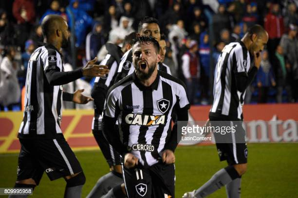 Joao Paulo of Botafogo celebrates after scoring the opening goal during a first leg match between Nacional and Botafogo as part of Copa CONMEBOL...