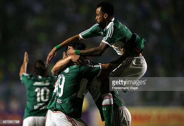 Joao Pedro Henrique and Wesley of Palmeiras celebrates scoring the second goal during the match between Palmeiras and Gremio for the Brazilian Series...