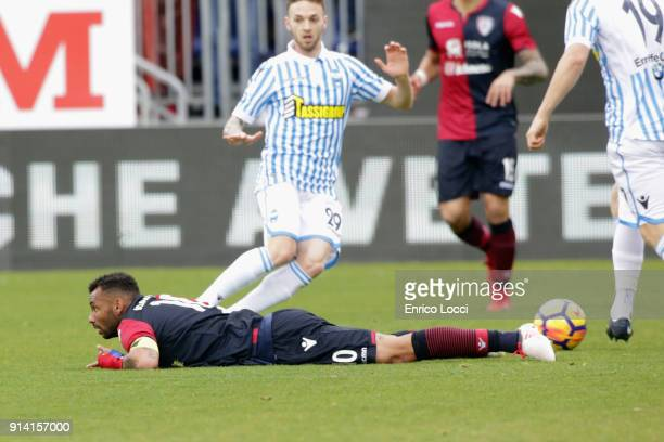 Joao Pedro of Caglairi during the serie A match between Cagliari Calcio and Spal at Stadio Sant'Elia on February 4 2018 in Cagliari Italy