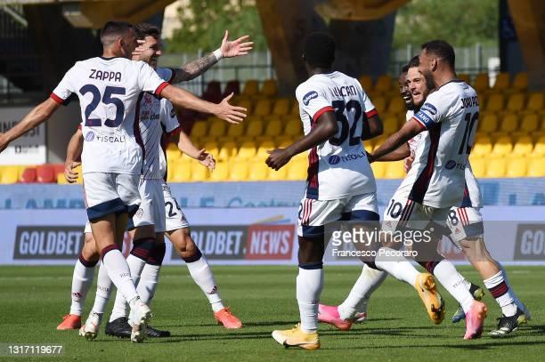 Joao Pedro of Cagliari Calcio celebrates after scoring the 1-3 goal during the Serie A match between Benevento Calcio and Cagliari Calcio at Stadio...
