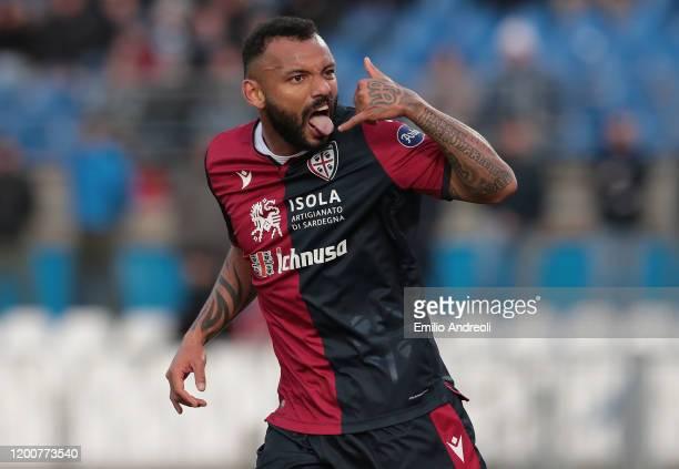 Joao Pedro of Cagliari Calcio celebrates his second goal during the Serie A match between Brescia Calcio and Cagliari Calcio at Stadio Mario...