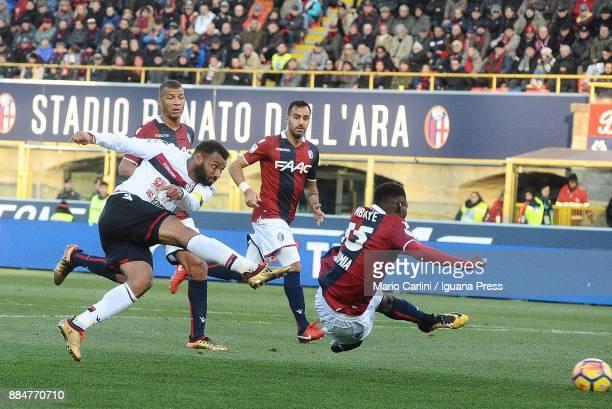 Joao Pedro of Cagliari Calcio scores the opening goal during the Serie A match between Bologna FC and Cagliari Calcio at Stadio Renato Dall'Ara on...