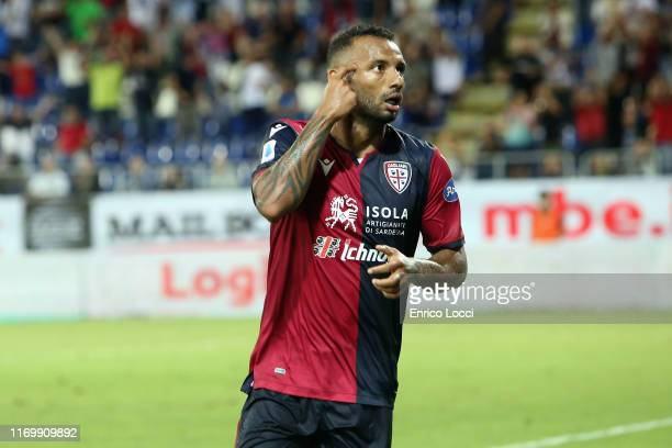 Joao Pedro of Cagliari celebrates after scoring goal 31 during the Serie A match between Cagliari Calcio and Genoa CFC at Sardegna Arena on September...