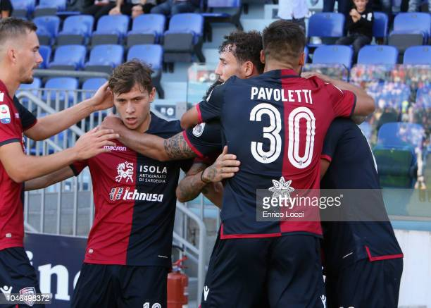 Joao Pedro of Cagliari celebrates his goal 1 0 during the Serie A match between Cagliari and Bologna FC at Sardegna Arena on October 6 2018 in...
