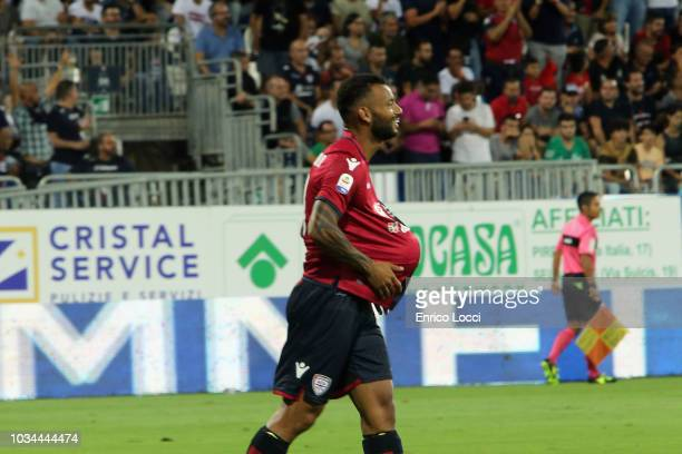 Joao Pedro of Cagliari celebrates his goal 10 during the serie A match between Cagliari and AC Milan at Sardegna Arena on September 16 2018 in...